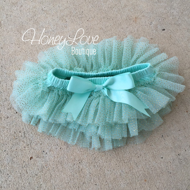 Mint/Aqua with gold glitter - tutu skirt bloomers - HoneyLoveBoutique