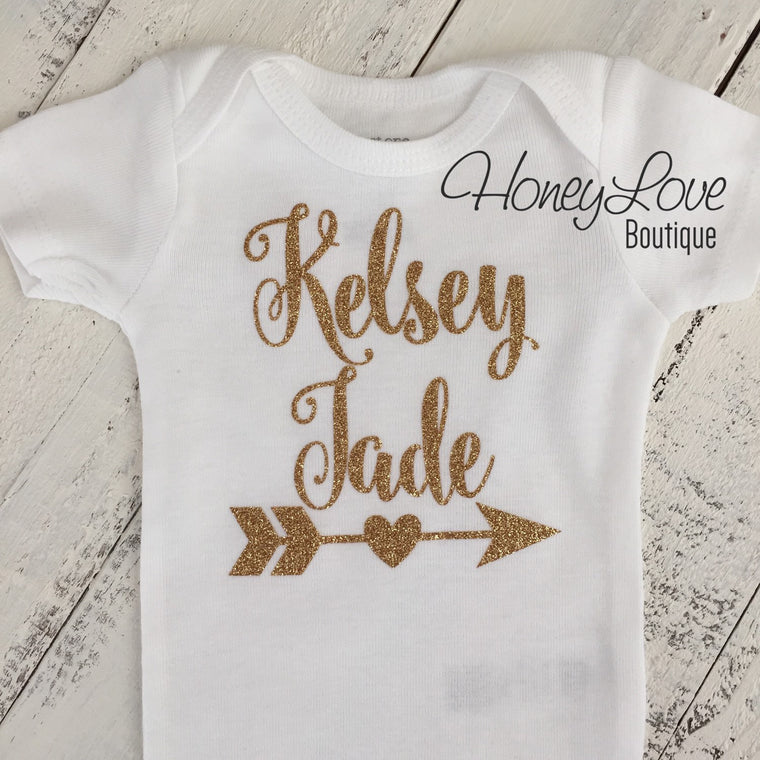 Personalized NAME Custom Personalization shirt bodysuit, Silver Gold glitter arrow heart sparkle sparkling Newborn infant toddler baby girl - HoneyLoveBoutique