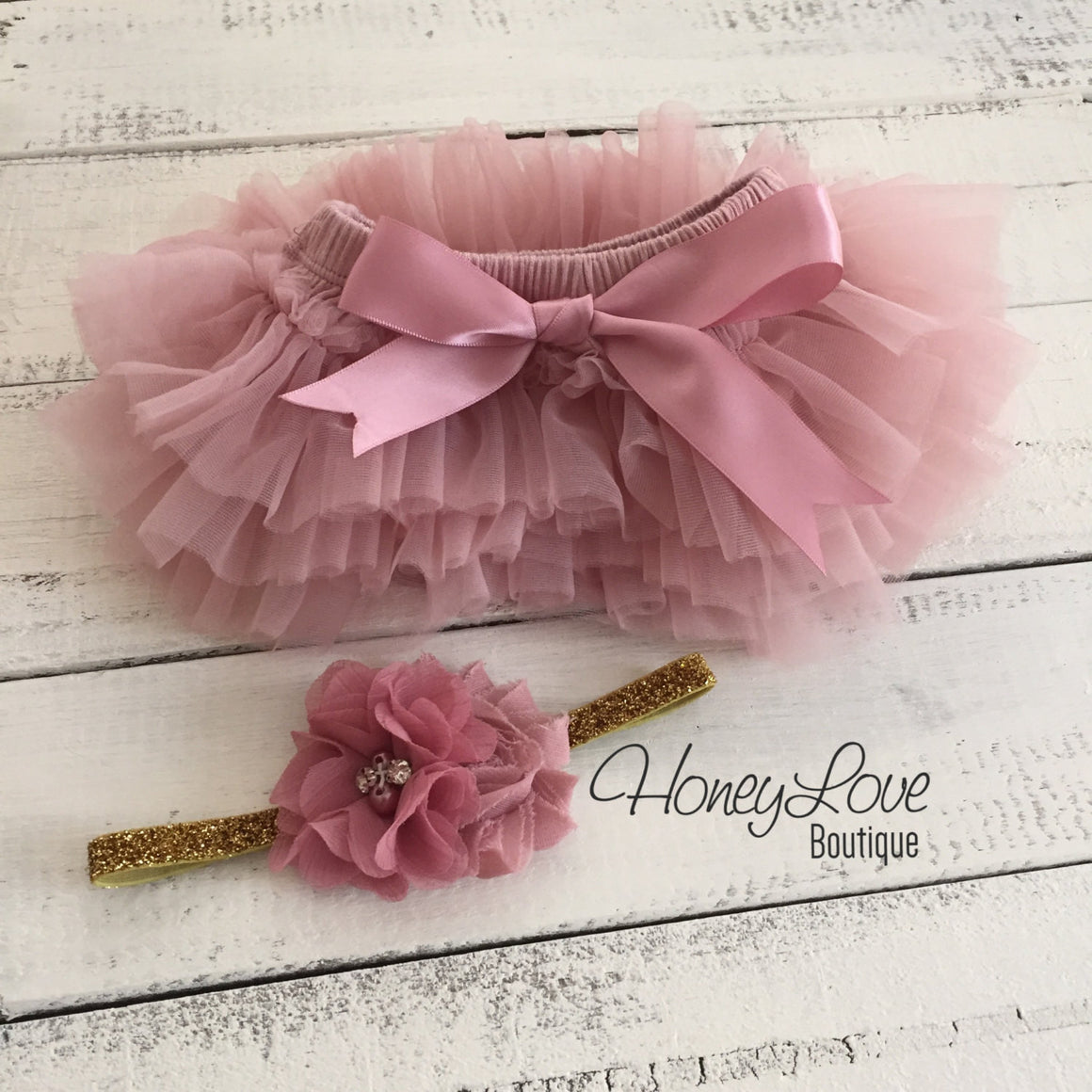 PERSONALIZED Name Outfit - Gold Glitter and Vintage Pink - HoneyLoveBoutique