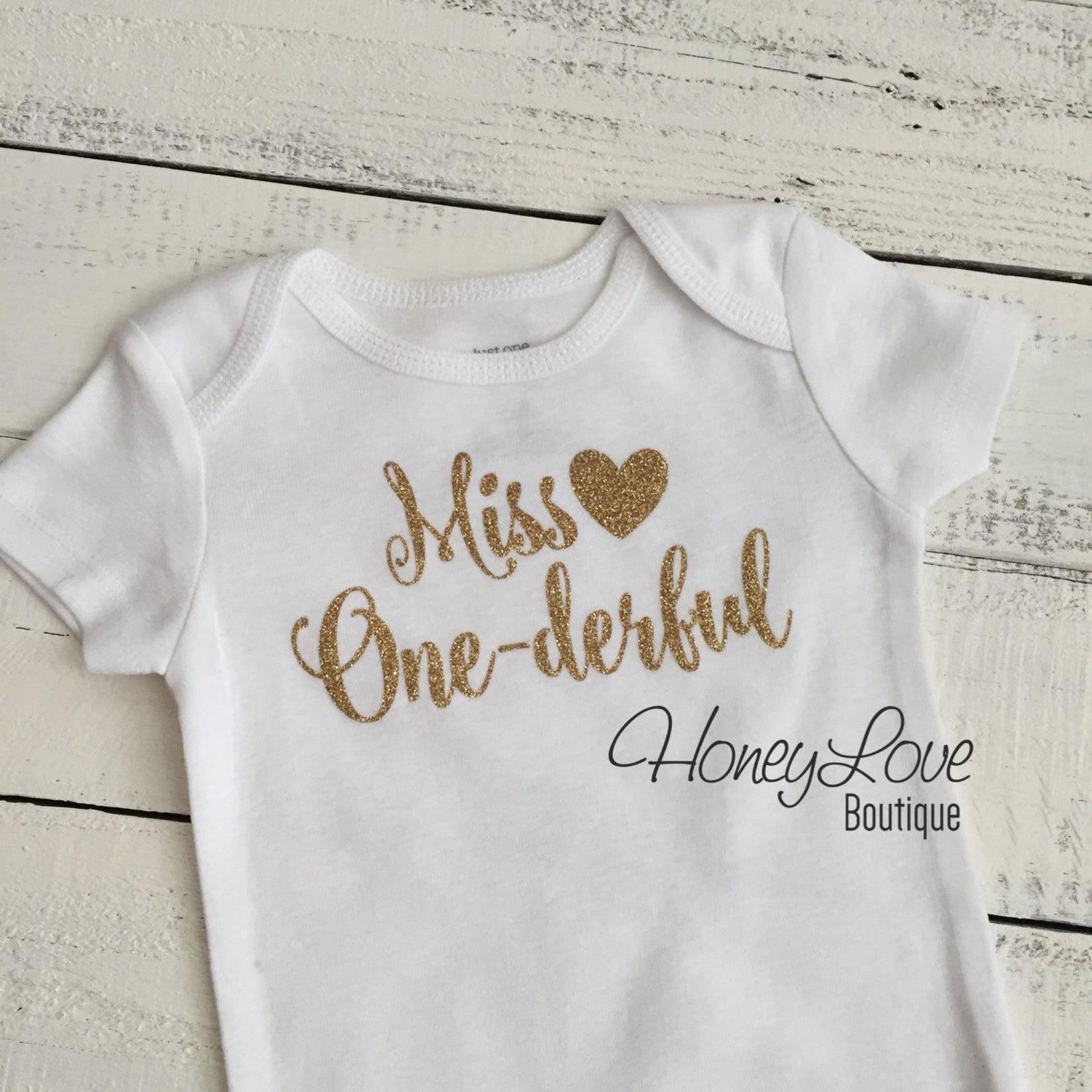 86d2823314a Miss One-derful - SILVER or GOLD glitter bodysuit - HoneyLoveBoutique