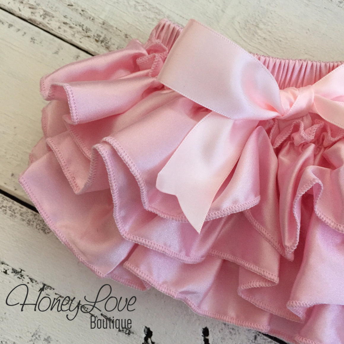 Bloomers - Light Pink Satin Ruffles - diaper cover, ruffles on butt, ruffle bottom newborn, infant, toddler, baby girl photo prop cake smash - HoneyLoveBoutique