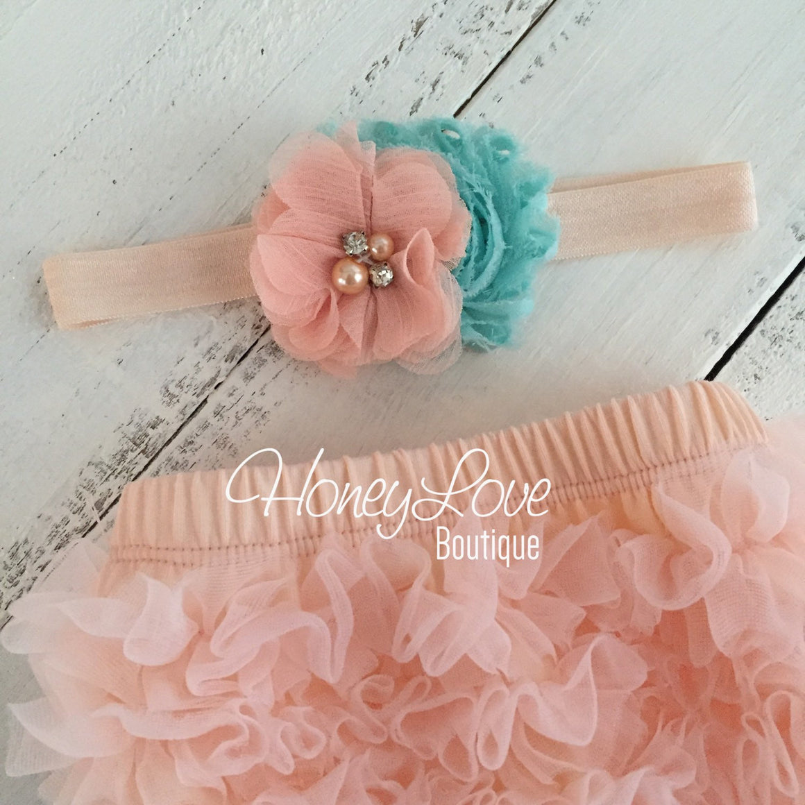 Peach ruffle bottom bloomers - mint/aqua and peach headband
