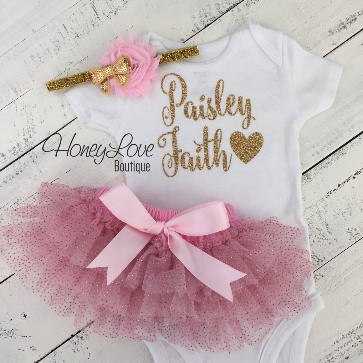 PERSONALIZED SET glitter name shirt bodysuit, pink gold ruffle tutu skirt bloomers, flower bow, newborn baby girl take home hospital outfit - HoneyLoveBoutique