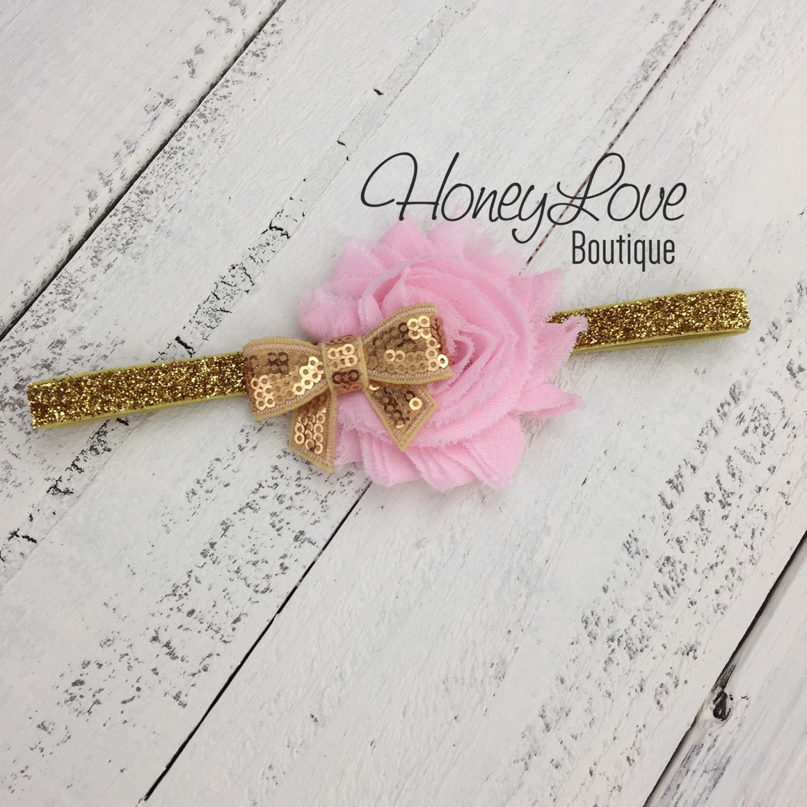 PERSONALIZED Name Outfit - Light Pink and Gold Glitter - HoneyLoveBoutique