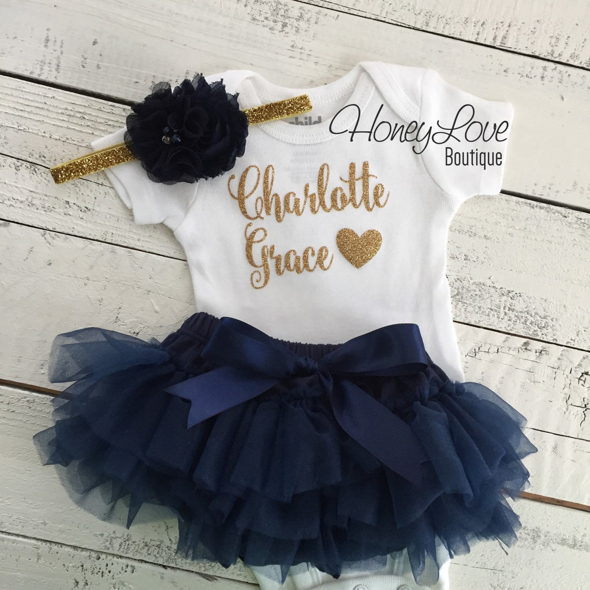 PERSONALIZED SET gold glitter name shirt bodysuit, navy blue ruffle tutu skirt bloomers, newborn baby girl take home hospital outfit - HoneyLoveBoutique