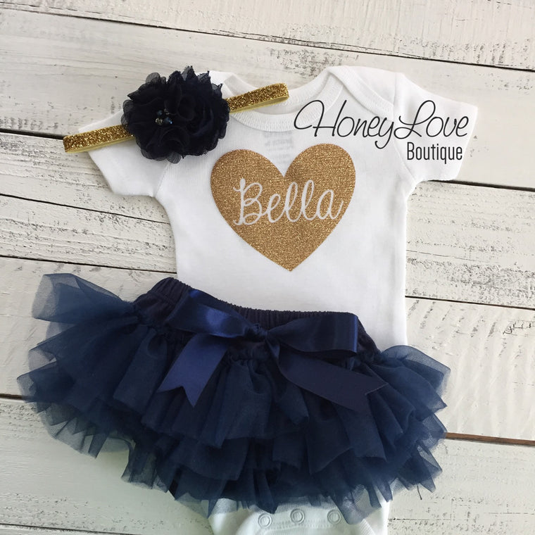 PERSONALIZED Name in heart outfit - Gold glitter and Navy