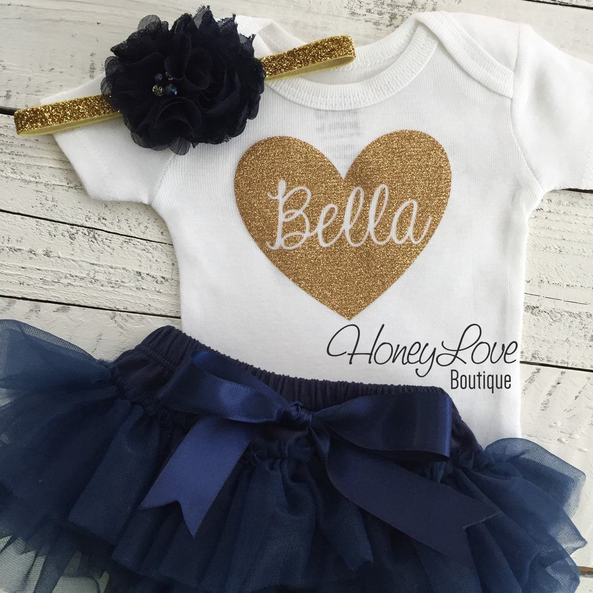 PERSONALIZED Name in heart outfit - Gold glitter and Navy - HoneyLoveBoutique