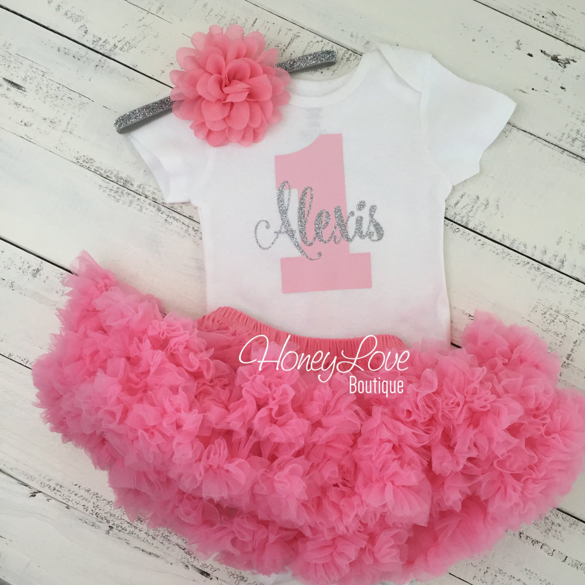 Personalized 1st Birthday Outfit - Silver/Gold glitter and Coral Pink