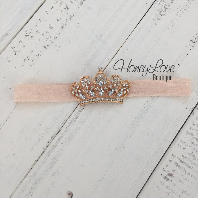 Peach Princess Tiara headband - HoneyLoveBoutique