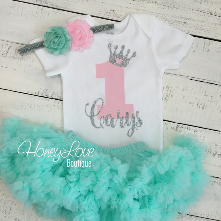 Personalized 1st Birthday Princess Outfit - Silver Glitter, Light Pink and Mint/Aqua