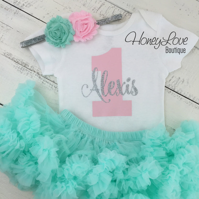 Personalized 1st Birthday outfit - Silver Glitter, Light pink, and Mint/Aqua - HoneyLoveBoutique