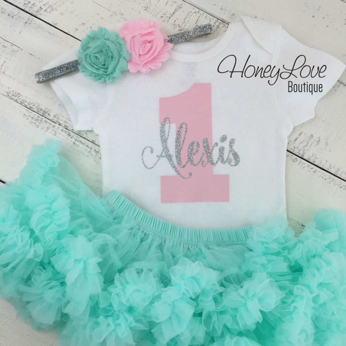 Personalized 1st Birthday outfit, one number 1 silver glitter shirt bodysuit, pink mint aqua tutu skirt flower headband, girl cake smash - HoneyLoveBoutique