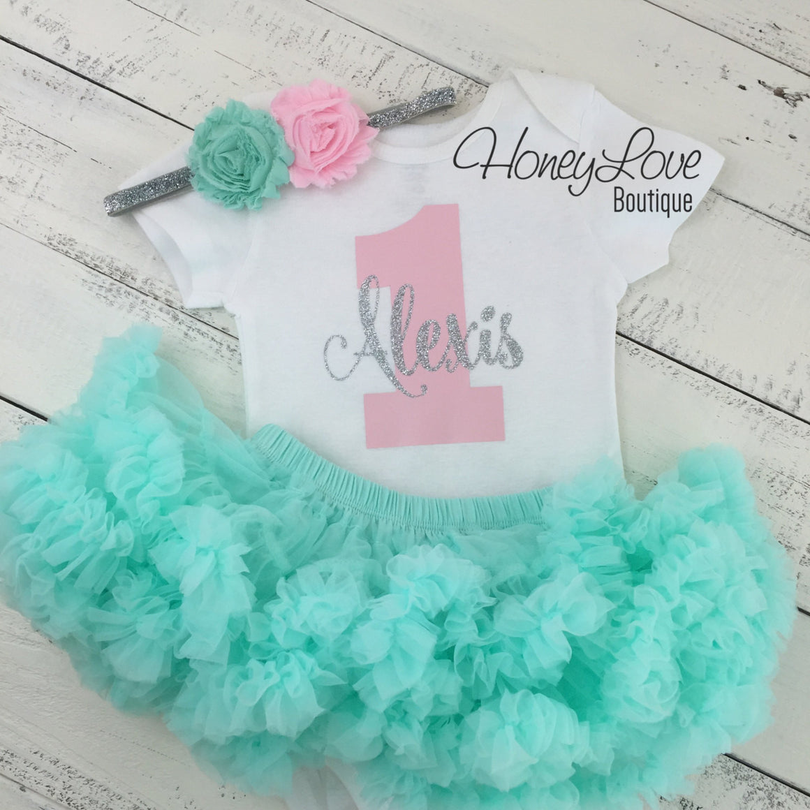 Personalized 1st Birthday outfit - Silver Glitter, Light pink, and Mint/Aqua