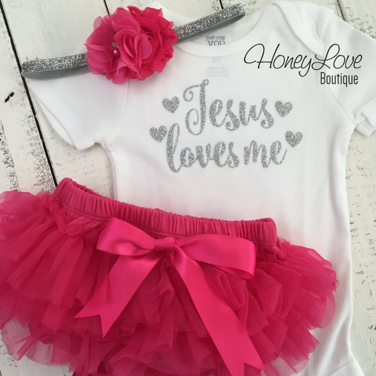 Jesus loves me SET silver or gold glitter shirt bodysuit, hot pink tutu skirt bloomers, flower headband bow, newborn infant baby toddler - HoneyLoveBoutique