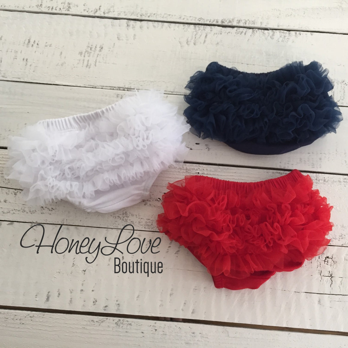 Ruffle Bottom Bloomers - navy blue, red and white - HoneyLoveBoutique