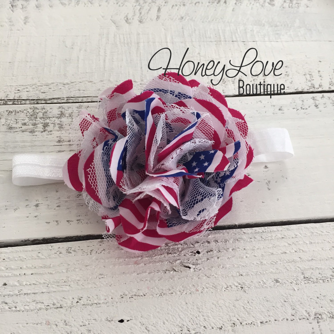 American Flag USA Flower Headband hair bow, Red White Blue Lace and Chiffon Layered Flower, newborn infant toddler little baby girl July 4th - HoneyLoveBoutique