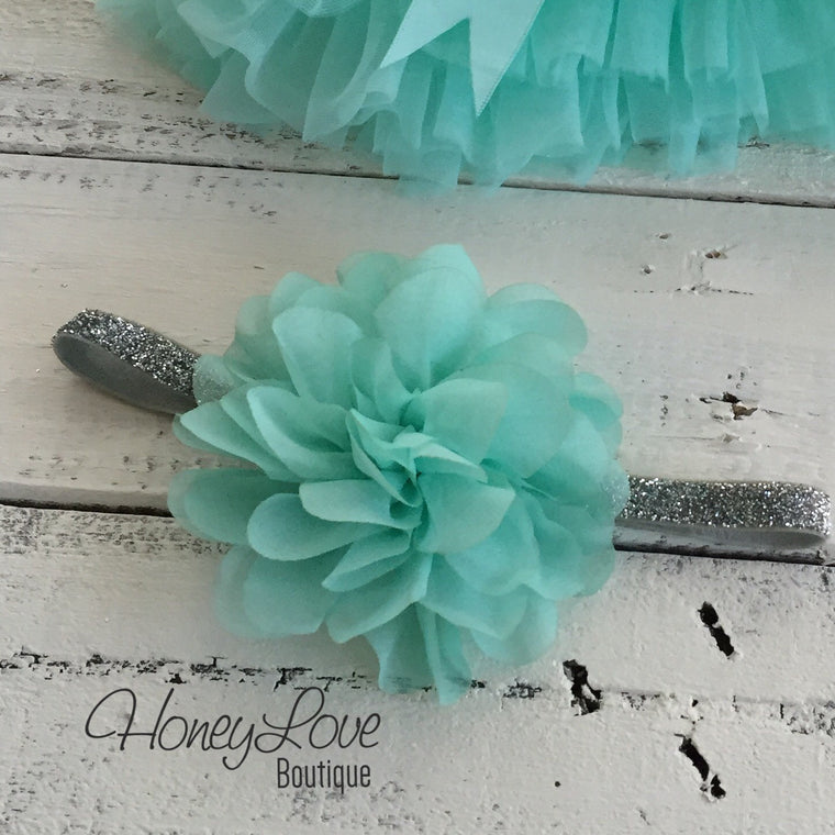 Mint/Aqua fluffy flower headband - SILVER/GOLD glitter elastic - HoneyLoveBoutique