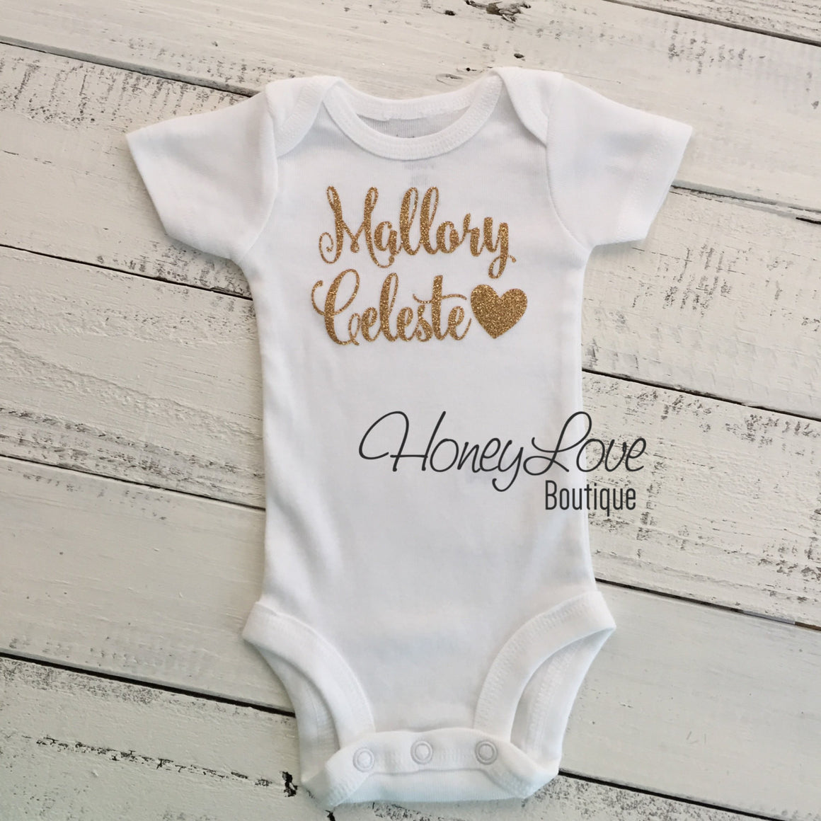 PERSONALIZED Name Outfit - Gold Glitter and Peach Pettiskirt - embellished pettiskirt