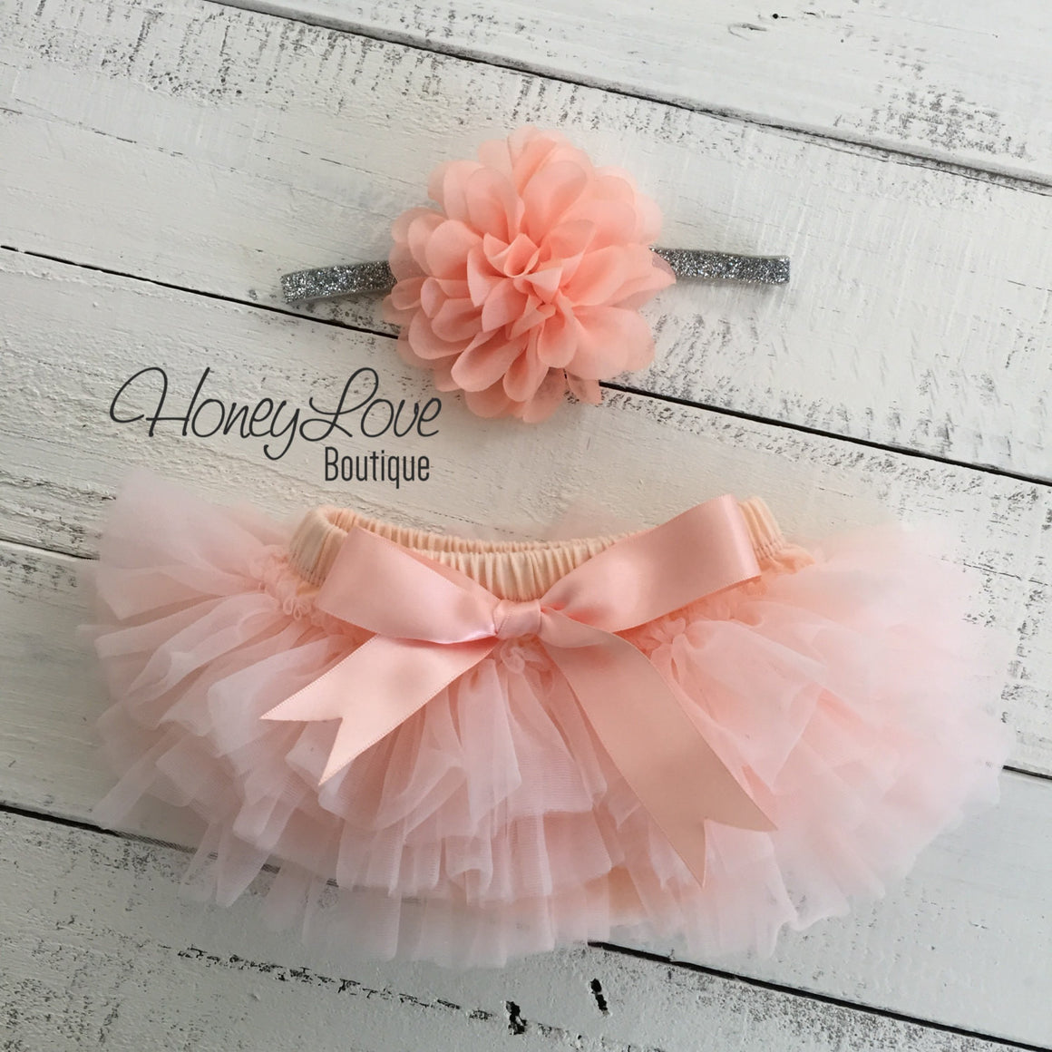 PERSONALIZED SET silver glitter shirt bodysuit peach ruffle tutu skirt bloomers, flower headband newborn baby girl take home hospital outfit - HoneyLoveBoutique