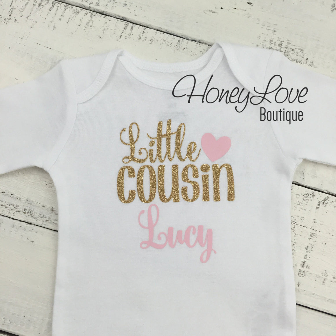 PERSONALIZED Cousin Bodysuits and Shirts - Light Pink and Gold Glitter - HoneyLoveBoutique