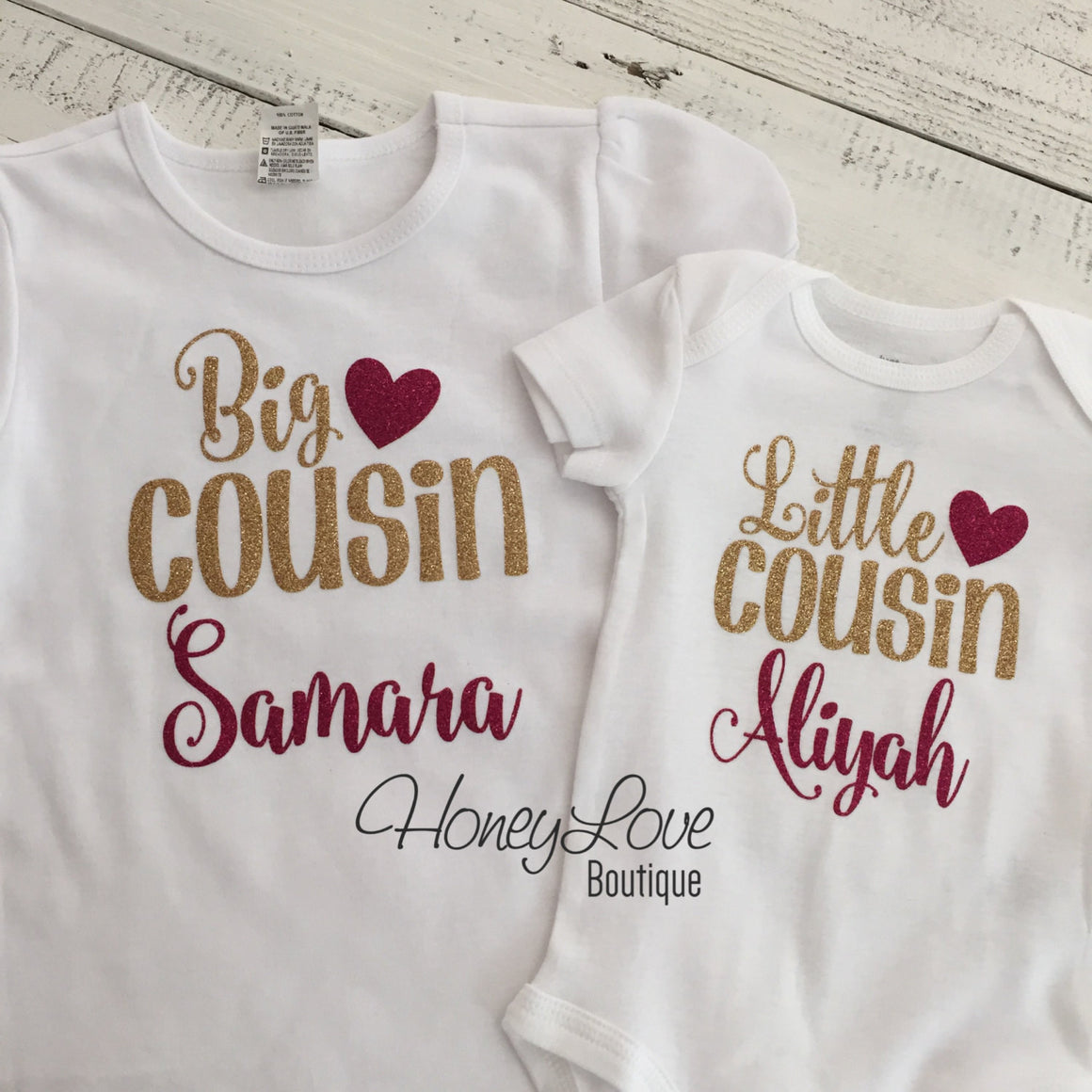 PERSONALIZED Cousin Bodysuits and Shirts - Gold Gllitter and Dark Pink Glitter - HoneyLoveBoutique