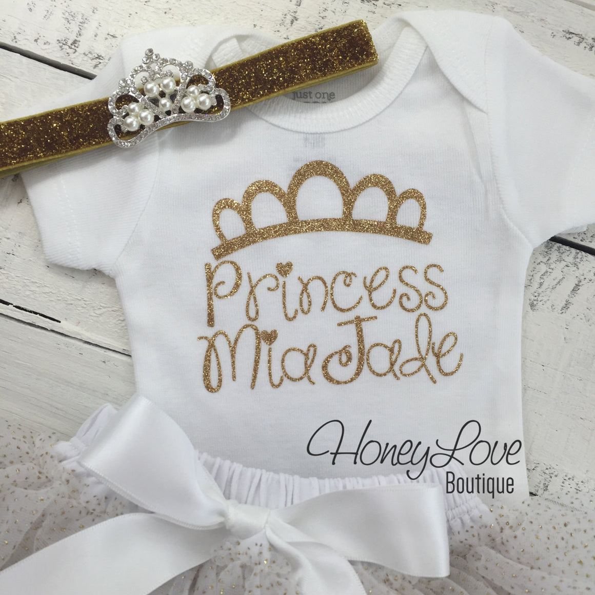 Personalized Princess name outfit - Gold Glitter and Gold/White tutu skirt bloomers