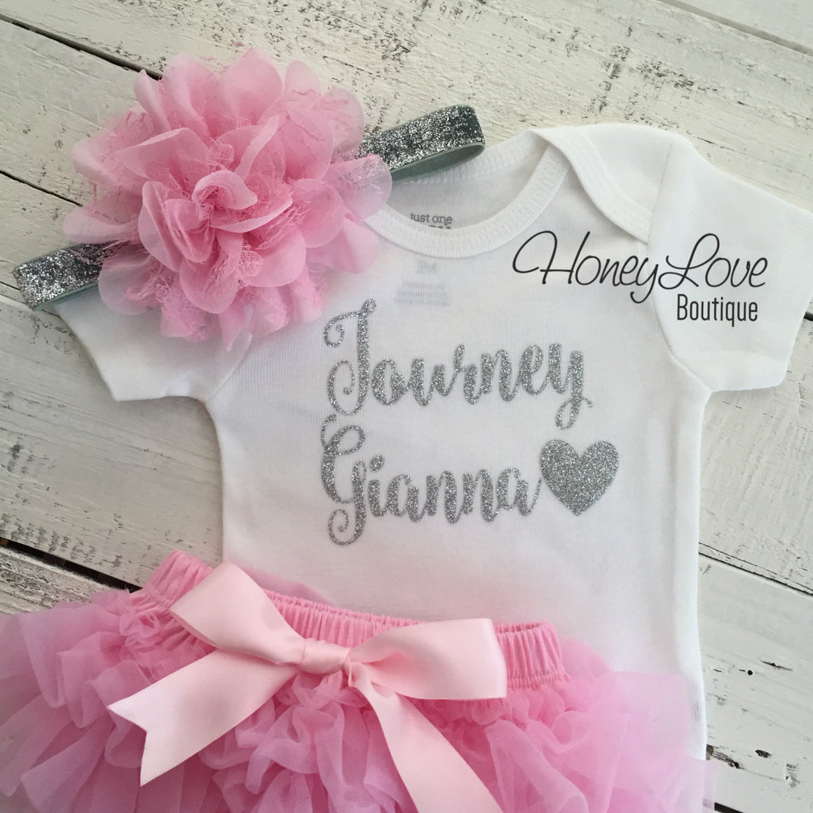 PERSONALIZED Name Outfit - Silver Glitter and Light Pink