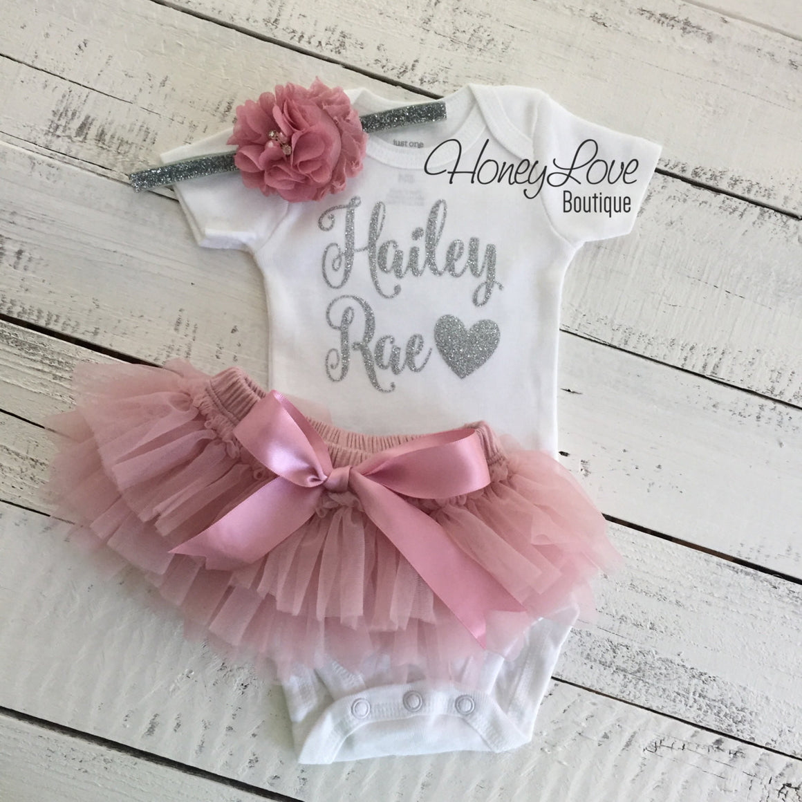 PERSONALIZED SET silver glitter shirt bodysuit, dusty rose vintage pink ruffle tutu skirt bloomers, flower headband newborn baby girl outfit - HoneyLoveBoutique