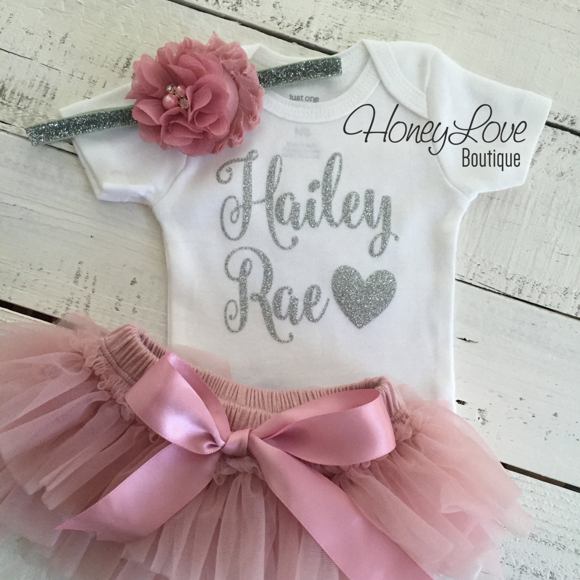 PERSONALIZED Name Outfit - Silver Glitter and Vintage Pink