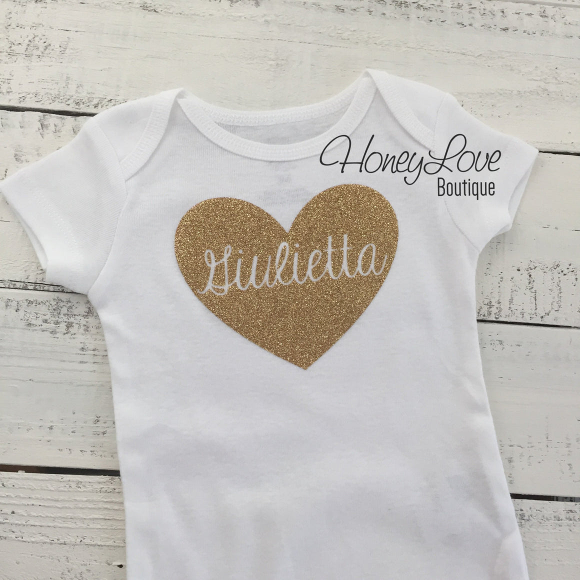 PERSONALIZED Name inside Heart - Gold glitter and Peach - HoneyLoveBoutique