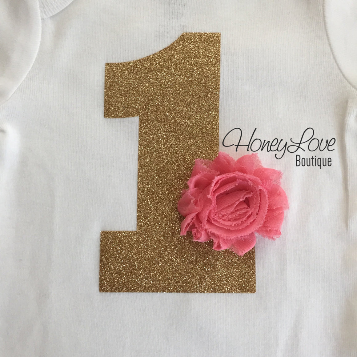 Birthday Bodysuit - Gold or Silver 1 with flower accent (choose color!) - HoneyLoveBoutique