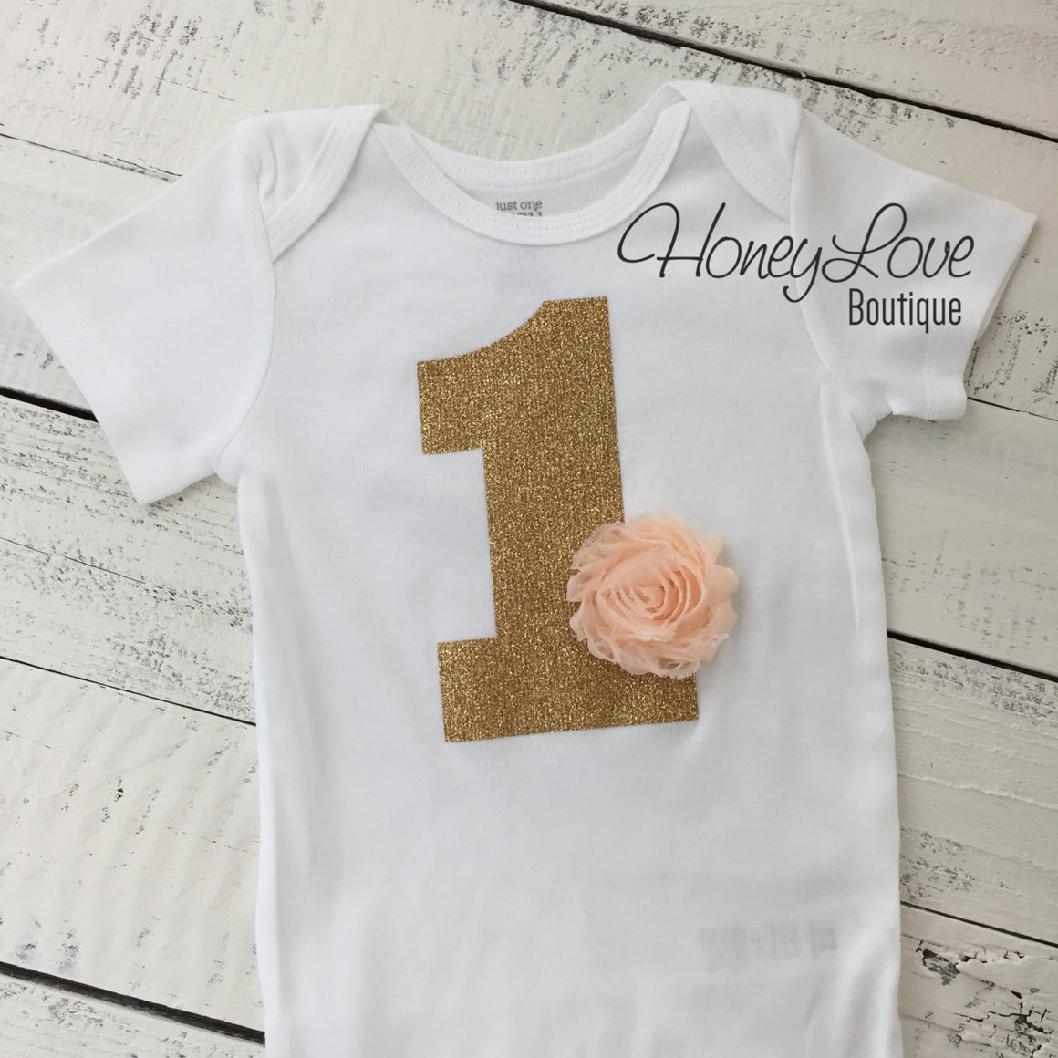 Birthday Bodysuit - Gold or Silver 1 with flower accent (choose color!)