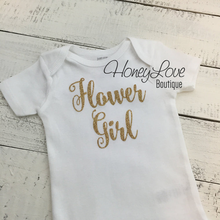 Flower Girl shirt bodysuit, Silver or Gold glitter sparkle sparkly, newborn infant toddler little baby girl, wedding bride, bridal party - HoneyLoveBoutique