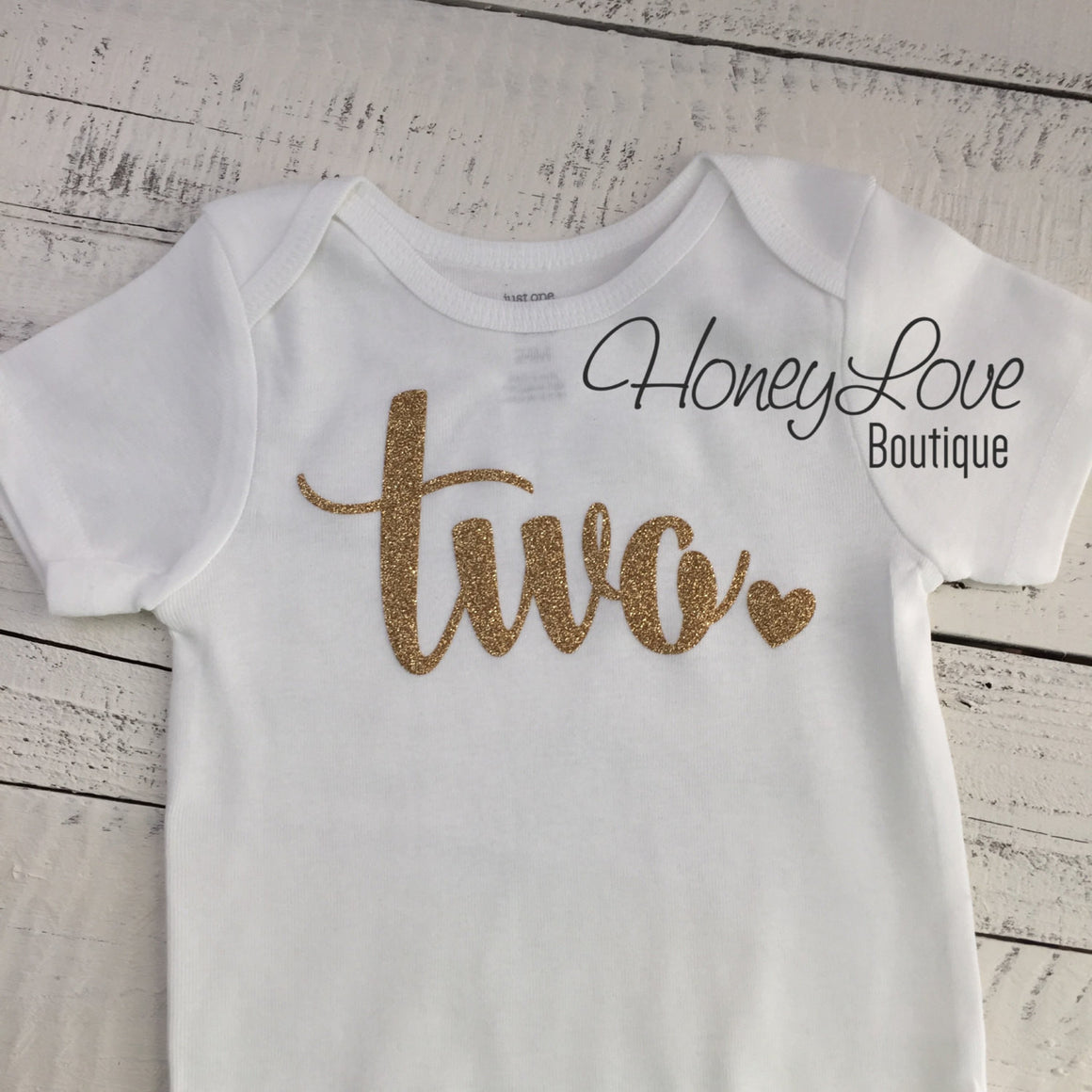 Two - Gold Glitter Bodysuit - HoneyLoveBoutique