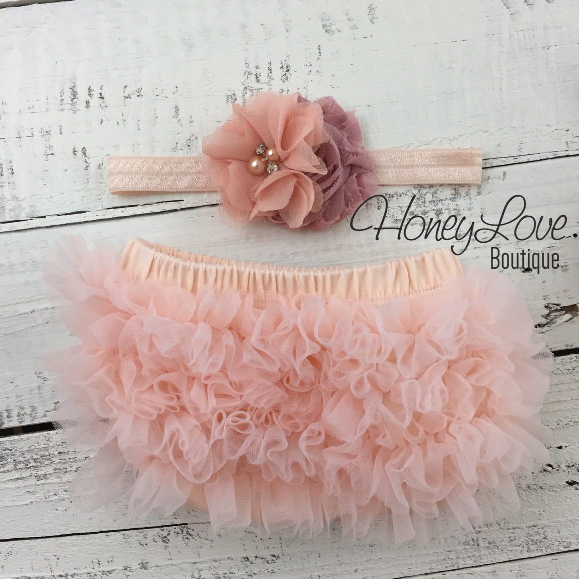 Peach ruffle bottom bloomers diaper cover, dusty rose vintage pink flower rhinestone pearl headband, newborn infant toddler baby girl photo - HoneyLoveBoutique
