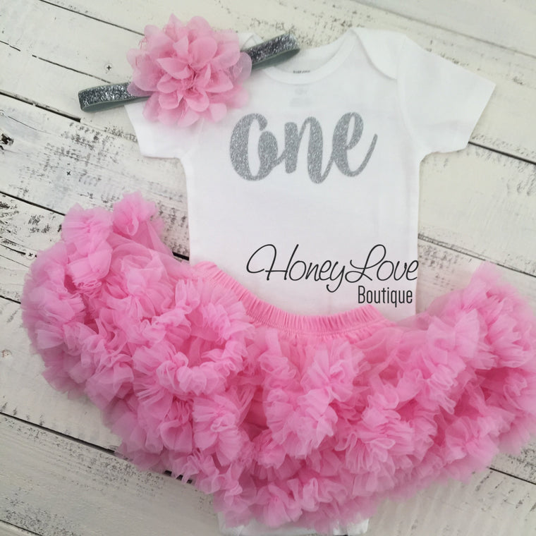 One - 1st Birthday Outfit - Silver or Gold and light pink