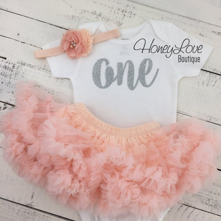 One - 1st Birthday Outfit - Peach and Silver Glitter