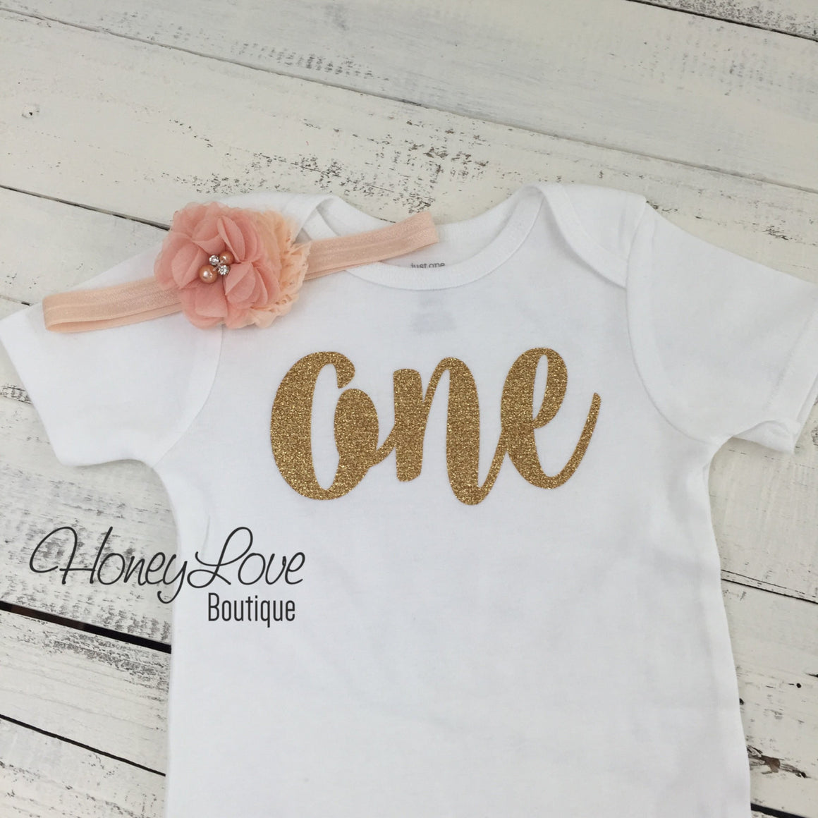 One - 1st Birthday Outfit - Gold glitter and Peach - embellished pettiskirt