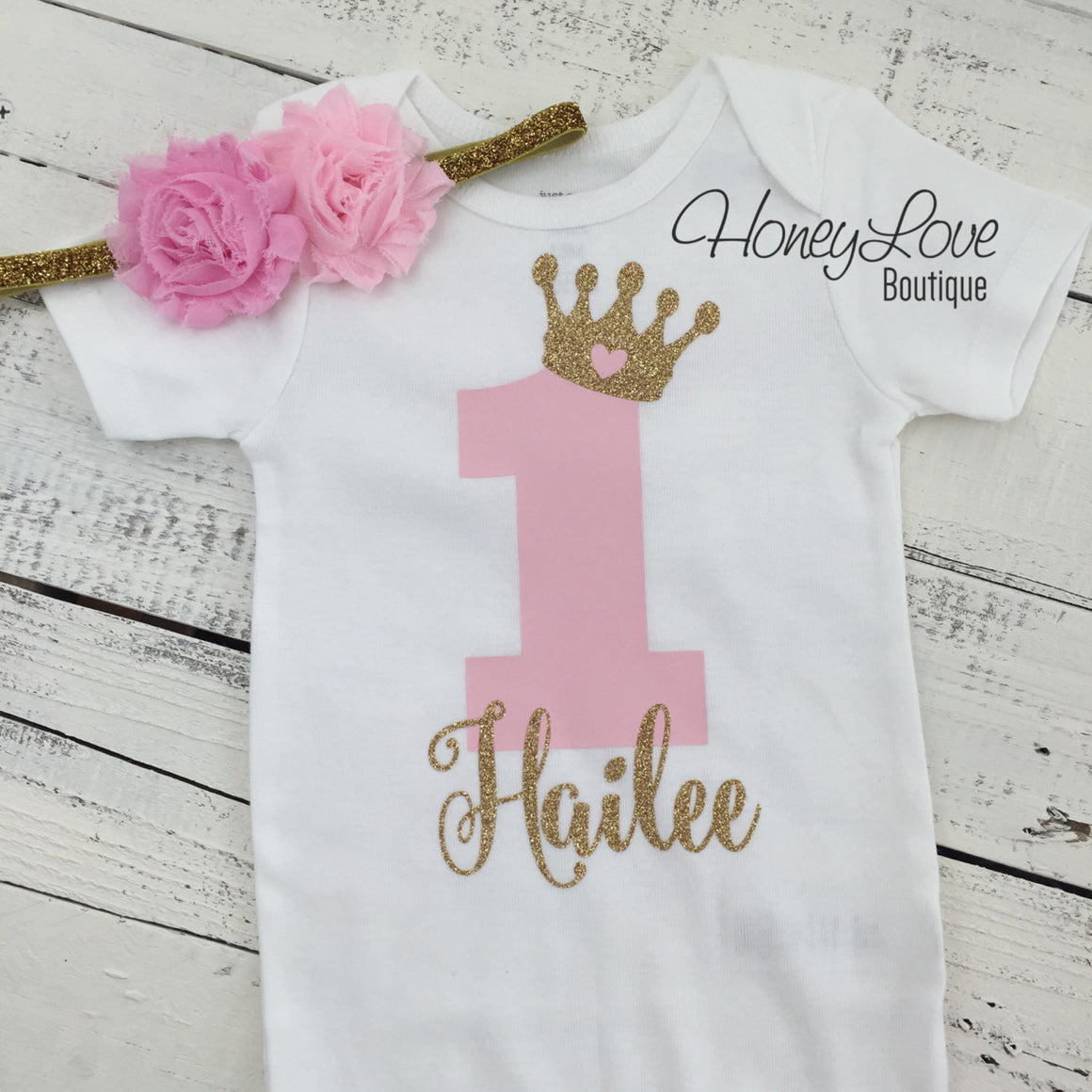 Personalized 1st Birthday outfit, one number 1 tiara crown princess gold glitter shirt bodysuit, light pink tutu skirt, flower headband set - HoneyLoveBoutique