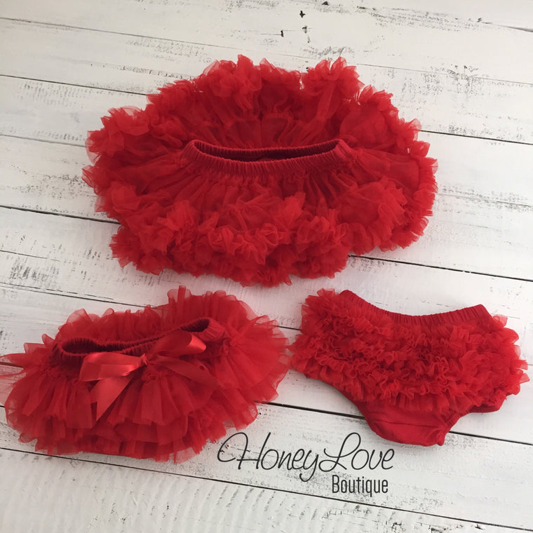 Red - Pettiskirt - Tutu Skirt Bloomer - Ruffle Bottom Bloomer - HoneyLoveBoutique