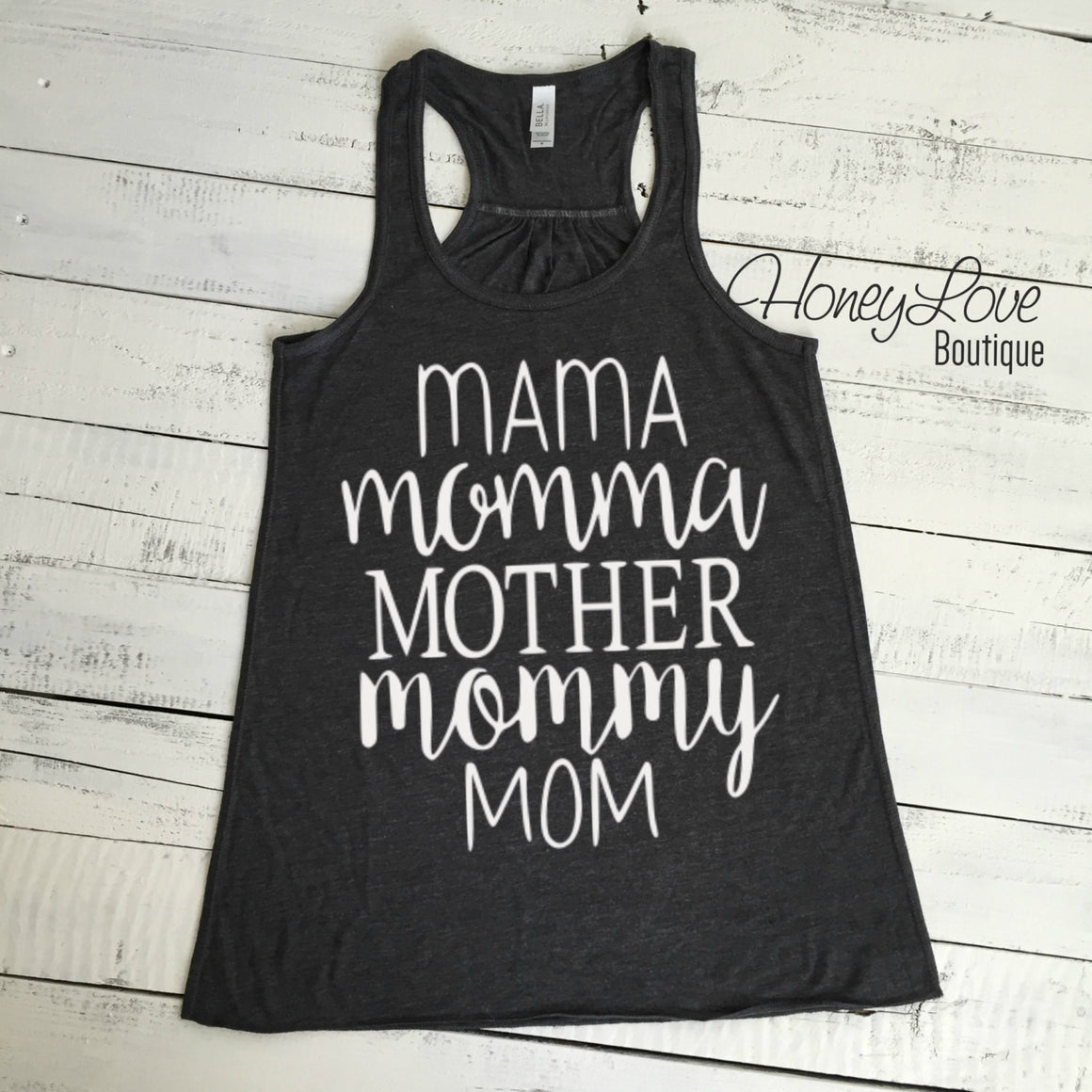 Mama Momma Mother Mommy Mom tank, flowy tank, black or heather gray, relaxed fit, Mother's day, New mom shirt, Pregnancy tank Women's S-2XL - HoneyLoveBoutique