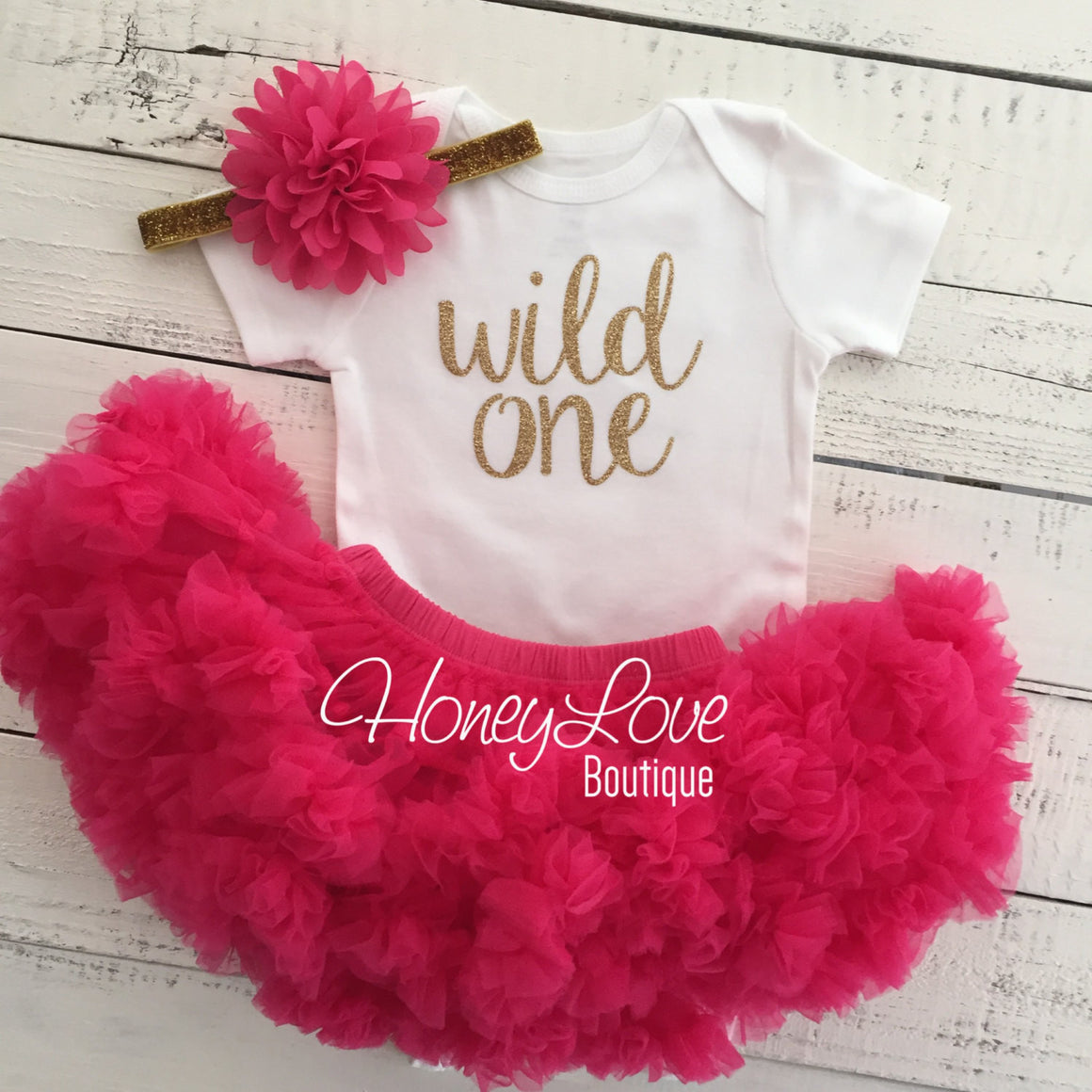 Wild One Birthday Outfit - Silver/Gold and watermelon pink