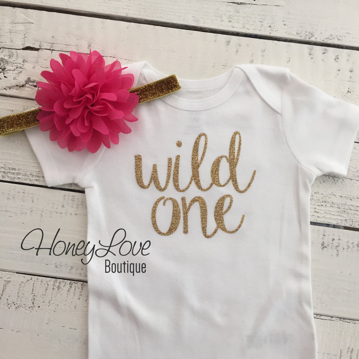 Wild One Birthday Outfit - Silver/Gold and watermelon pink - HoneyLoveBoutique