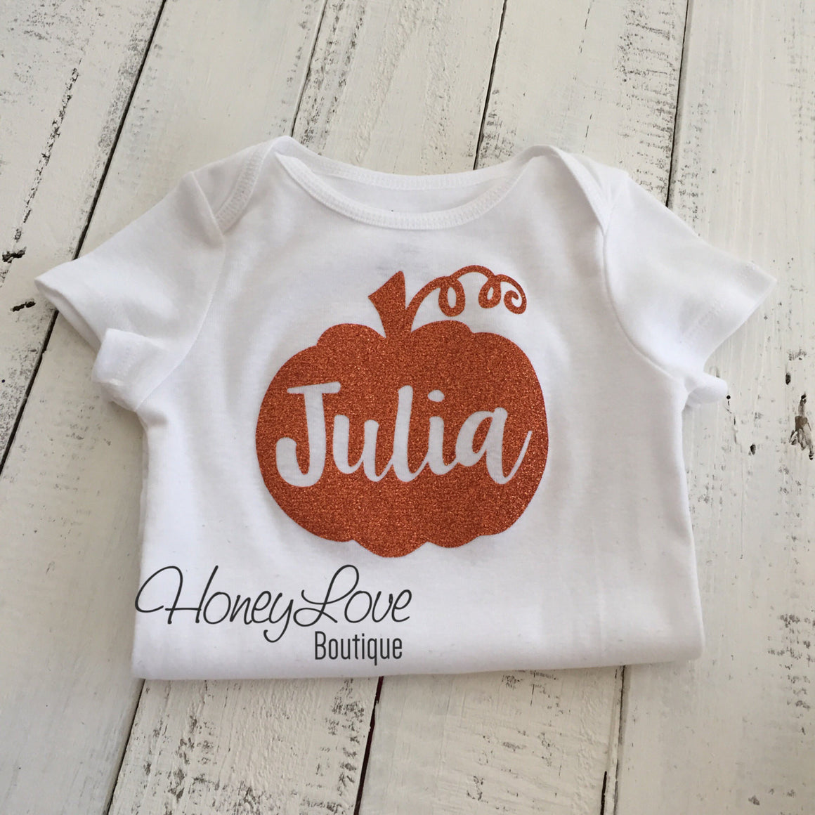 Personalized name Pumpkin glitter bodysuit - HoneyLoveBoutique