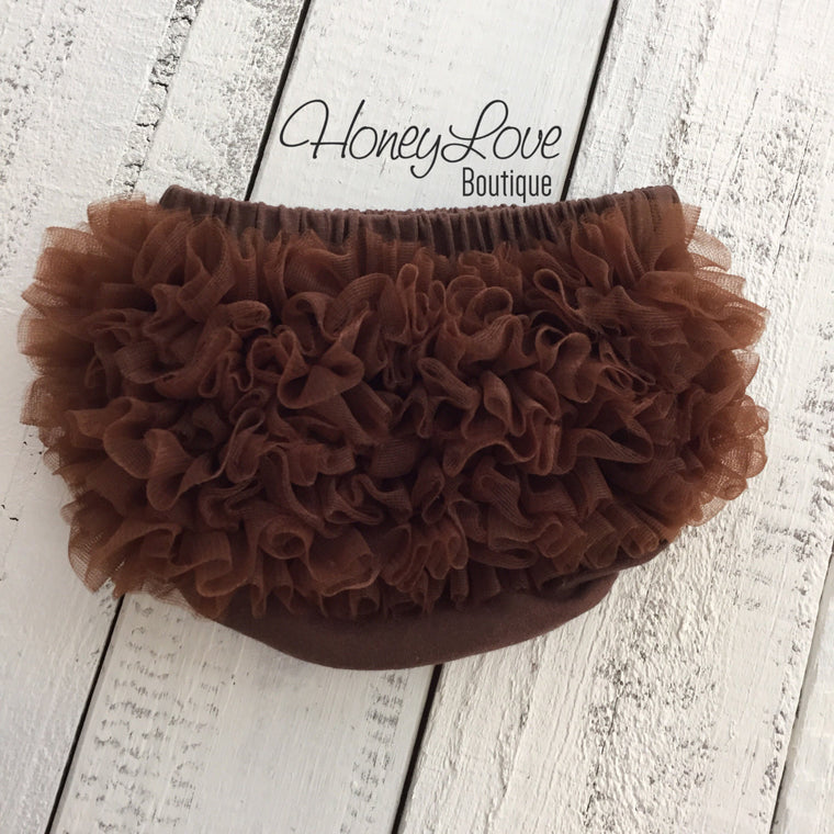 Ruffle Bottom Bloomer - Brown - HoneyLoveBoutique