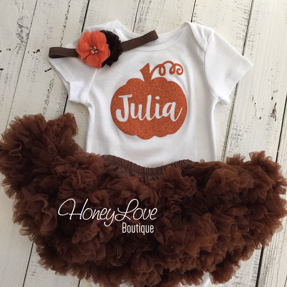 Thanksgiving Fall Halloween outfit - Brown/orange flower headband and leg warmers - HoneyLoveBoutique
