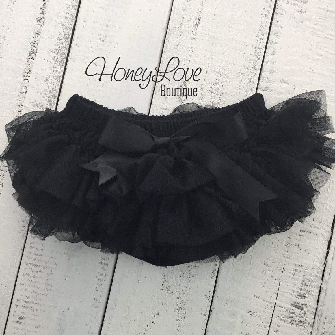 Black - Pettiskirt - Tutu Skirt Bloomer - Ruffle Bottom Bloomer - HoneyLoveBoutique