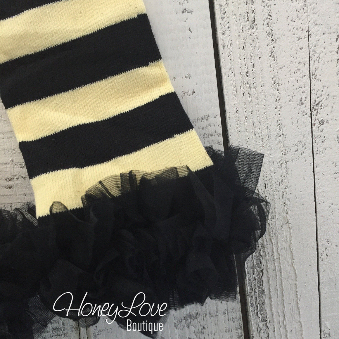 Yellow and Black Bumble Bee leg warmers, black ruffle bottom bloomer, matching flower headband - HoneyLoveBoutique