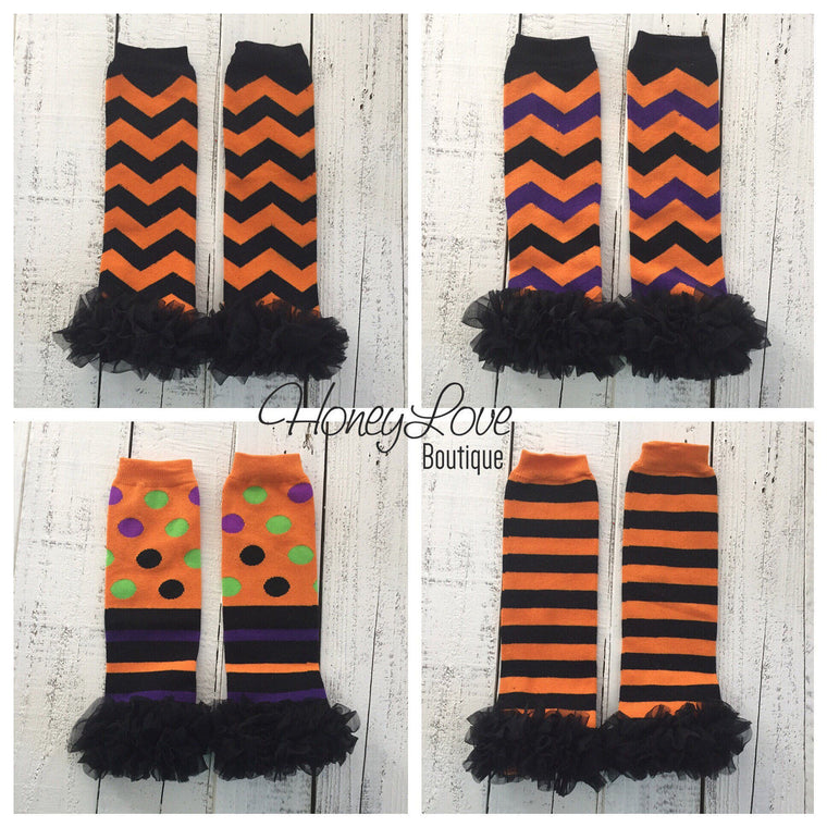 Halloween Leg Warmers with or without black ruffle - HoneyLoveBoutique