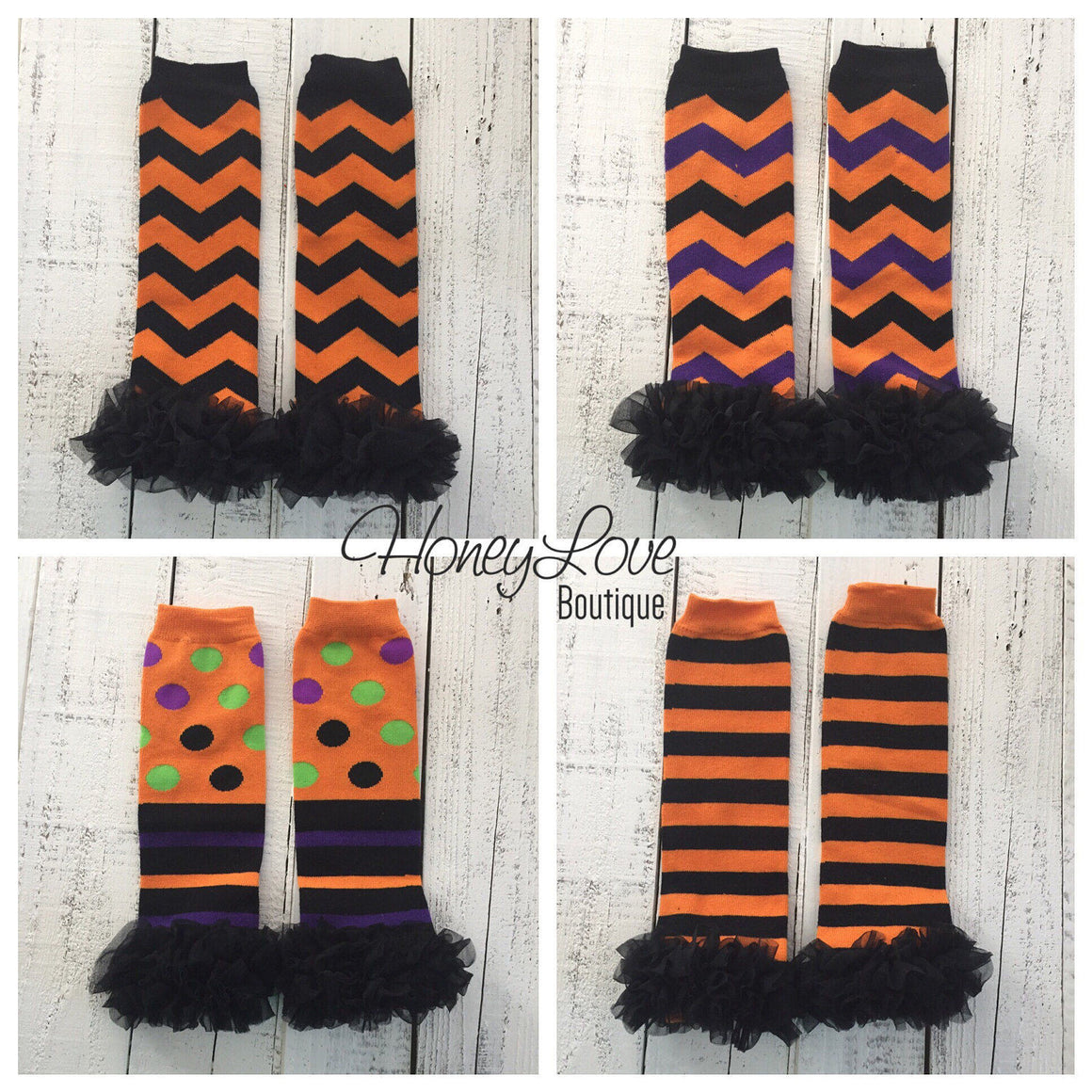 Halloween Leg Warmers with or without black ruffle